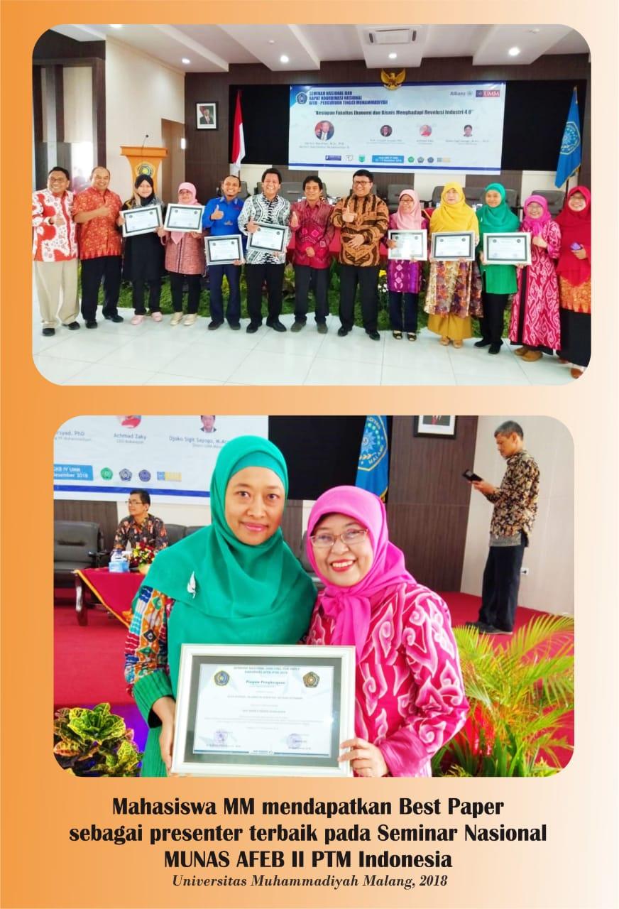 """Mahasiswa MM UAD meraih """"Best Paper"""" di Acara Seminar Nasional MUNAS AFEB II PTM INDONESIA 2018"""
