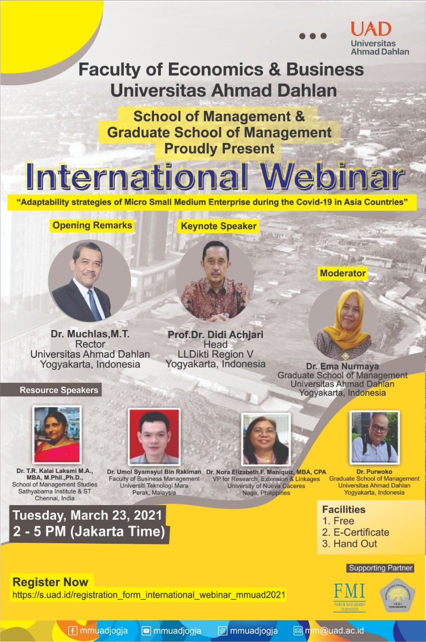 "INTERNASIONAL WEBINAR – ""Adaptability Strategies of Micro Small Medium During the Covid-19 In Asia Countries"""